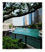 Chicago River Scene Fleece Blanket