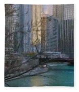 Chicago River Sunset Fleece Blanket