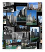 Chicago River Walk Collage Fleece Blanket