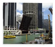 Chicago River Walk Construction Fleece Blanket