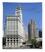 Chicago River Walk Wrigley And Tribune Fleece Blanket
