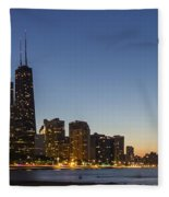 Chicago Skyline At Dusk 3 To1 Aspect Ratio Fleece Blanket