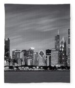 Chicago Skyline At Night Black And White Panoramic Fleece Blanket