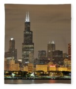 Chicago Skyline At Night Fleece Blanket
