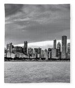 Chicago Skyline Black And White Fleece Blanket