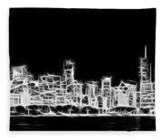 Chicago Skyline Fractal Black And White Fleece Blanket