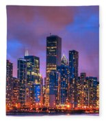 Chicago Skyline From Navy Pier View 2 Fleece Blanket