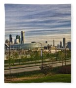 Chicago Skyline From The Sledding Hill Fleece Blanket
