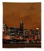 Chicago Skyline Panorama At Dusk Fleece Blanket