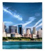 Chicago Skyline Panorama Fleece Blanket