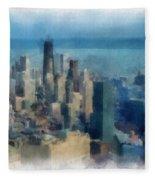 Chicago Skyline Photo Art 06 Fleece Blanket