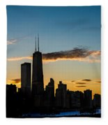 Chicago Skyline Silhouette Fleece Blanket