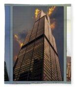 Chicago Tall Shoulders Trump Sears 333 Wacker Triptych 3 Panel 03 Fleece Blanket