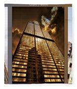 Chicago Tall Shoulders Trump Sears Tribune Triptych 3 Panel 02 Fleece Blanket