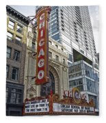 Chicago Theater Facade Northside Fleece Blanket