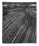 Chicago Transportation 02 Black And White Fleece Blanket