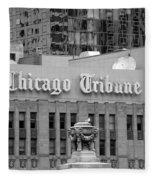 Chicago Tribune Facade Signage Bw Fleece Blanket