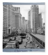 Chicago Triptych 3 Panel Black And White Fleece Blanket