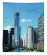 Chicago Trump Tower Under Construction Fleece Blanket