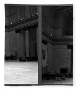 Chicago Union Station The Great Hall 2 Panel Bw Fleece Blanket