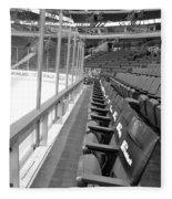 Chicago United Center Before The Gates Open Blackhawk Seat One Bw Fleece Blanket