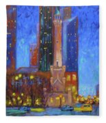 Chicago Water Tower At Night Fleece Blanket