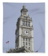 Chicago Wrigley Clock Tower Fleece Blanket