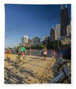Chicago's Lakefront Bike Path On A Summer Evening Fleece Blanket