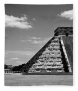 Chichen Itza Blk Wht Fleece Blanket