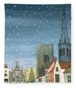 Chichester Cathedral A Snow Scene Fleece Blanket