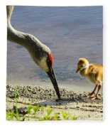 Chick At The Lake Fleece Blanket
