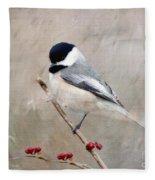 Chickadee And Berries Fleece Blanket