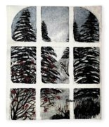 Chickadees And Dogberries Abstraction Fleece Blanket
