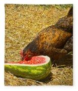 Chicken And Her Watermelon Fleece Blanket