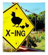 Chicken Crossing Fleece Blanket