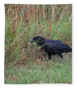 Chicken Eating Crow Fleece Blanket