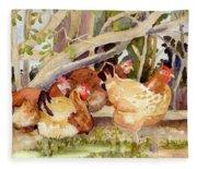 Chickens In The Hedge II Fleece Blanket