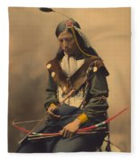 Chief Bone Necklace Of The Lakota 1899 Fleece Blanket