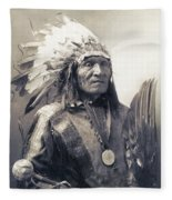 Chief He Dog Of The Sioux Nation  C. 1900 Fleece Blanket