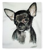 Chihuahua Black 2 Fleece Blanket