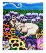 Chihuahua In Flowers Fleece Blanket