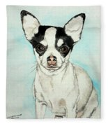 Chihuahua White With Black Spots Fleece Blanket