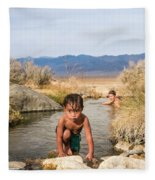 Child And Mother Playing In Hot Springs Fleece Blanket