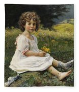 Child In The Meadow Fleece Blanket