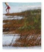 Child Playing On The Beach Mackinaw City Fleece Blanket