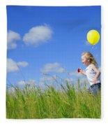 Child Running With A Balloon Fleece Blanket