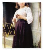 Child With A Ball Of Wool Fleece Blanket