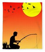 Childhood Dreams 3 Fishing Fleece Blanket