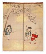 Children Playing In Summer And Winter Fleece Blanket