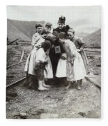 Children With Camera, C1900 Fleece Blanket